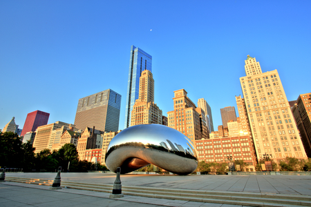 and gate: Cloud Gate - The Bean in Millennium Park at Sunrise, Chicago Editorial