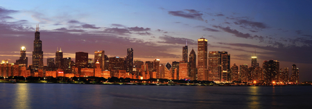 willis: Chicago Skyline Panorama at Dusk