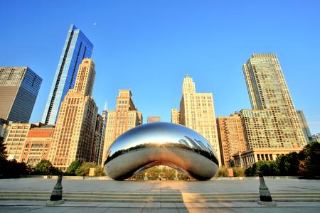 chicago city: Cloud Gate - The Bean in Millennium Park at Sunrise, Chicago Stock Photo