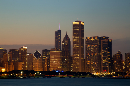 city night: Chicago Skyline at Dusk