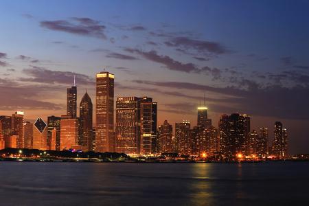 night dusk: Chicago Skyline Panorama at Dusk