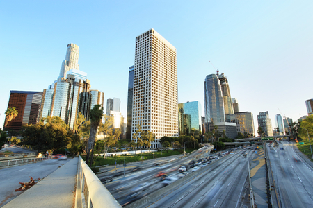 City of Los Angeles Downtown at Sunset Stock Photo