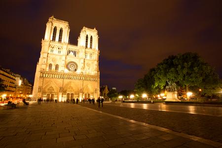 Notre Dame de Paris at Dusk, France