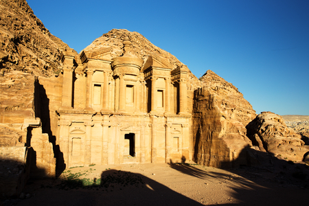 The Monastery (El Dayr) in Petra Ancient City in a Golden Sun, Jordan Stock Photo