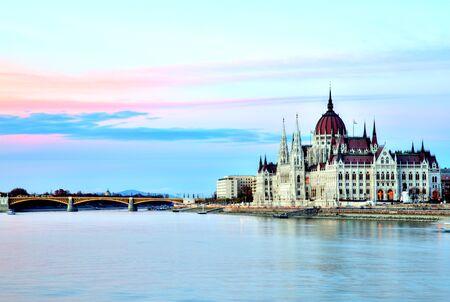 Budapest Parliament at Sunset, Hungary Stock Photo