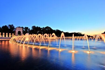 ii: World War II Memorial in Washington DC at Dusk Stock Photo