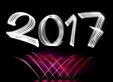 night dusk:       Keywords:  2017, new year, new years eve, fireworks, year, light, lights, blue, holiday, background, beautiful, bright, celebration, party, colorful, christmas, decoration, effect, evening, night, dusk, festival, fun, greetings, red, green, explodin Stock Photo