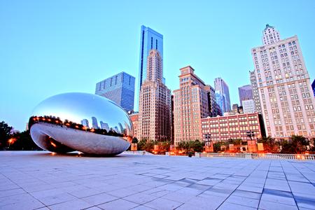 Cloud Gate - The Bean in Millennium Park at Sunrise, Chicago