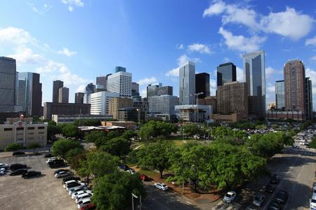 Houston Downtown Skyline with Bright Sun