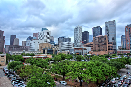 Houston Downtown Skyline with Cloudy Sky
