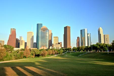Houston Downtown Skyline at Sunset Imagens