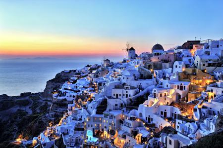 Oia Village at Sunset on Santorini Island Greece