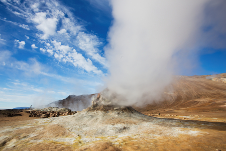 Fumarole Field in Namafjall Geothermal Area, Hverir, Iceland Stock Photo