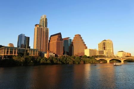 Austin Downtown Skyline at Sunset Stock Photo