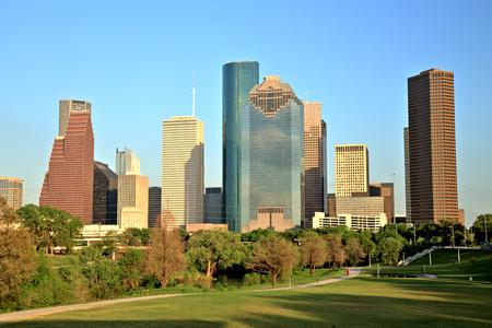 Houston Downtown Skyline at Sunset Stock Photo