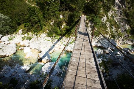 Suspension Bridge on the Soca River Stock Photo