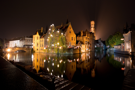 Historic Medieval City of Bruges with River Canal at Dusk, Belgium