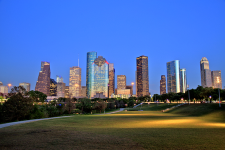 Houston Downtown Skyline Illuminated at Blue Hour