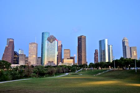 Houston Downtown Skyline Illuminated at Blue Hour