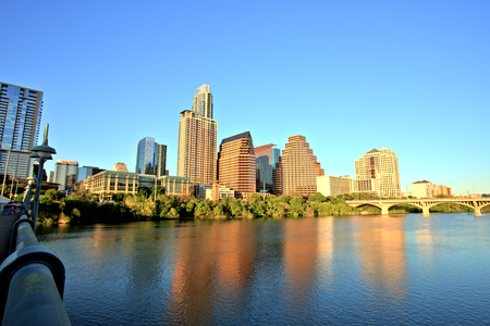 Austin Downtown Skyline at Sunset Stock Photo