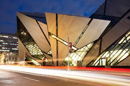 TORONTO - AUGUST 27: The Royal Ontario Museum at night on August 27, 2015 in Toronto, Canada. The controversial facade of the ROM was designed by architect Daniel Libeskind. Editorial