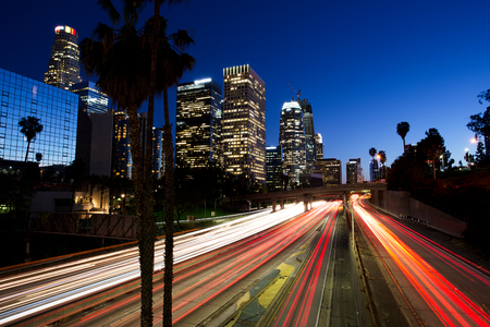 City of Los Angeles Downtown at Sunset With Light Trails Stok Fotoğraf