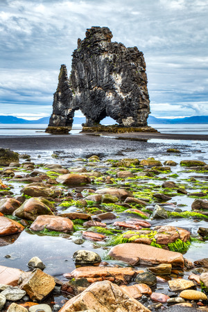 Hvitserkur during Cloudy Day, A Spectacular Rock in the Sea on the Northern Coast of Iceland