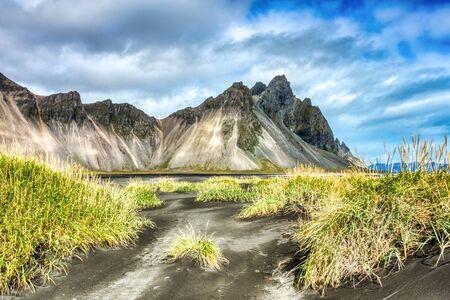 Stokksnes Mountain on Vestrahorn Cape during Beautiful Sunny Day, Iceland