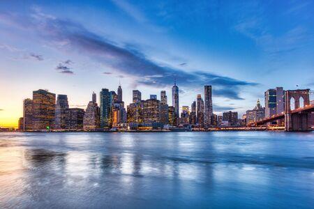 Brooklyn Bridge at dusk, view from Brooklyn, New York, USA