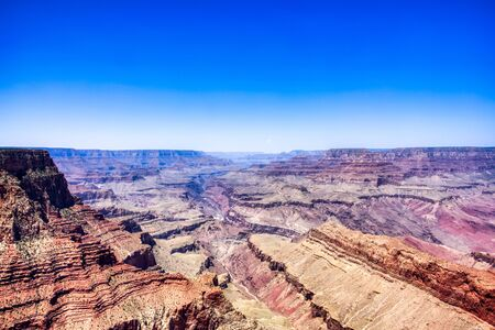 Grand Canyon View from South Rim with Bright Blue Sky during Sunny Day