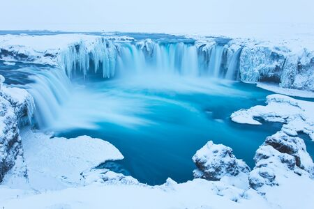 Beautiful Godafoss-Waterfall in Winter Covered in Snow, Iceland Stok Fotoğraf