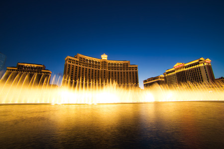 LAS VEGAS, USA - JUNE 2: Fountain show at Bellagio hotel and casino on June 2, 2016 in Las Vegas, USA. Las Vegas is one of the top tourist destinations in the world.
