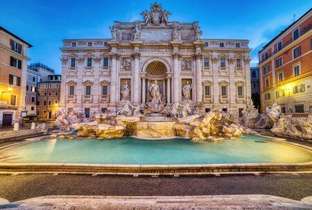 Illuminated Trevi Fountain at Dusk, Rome, Italy