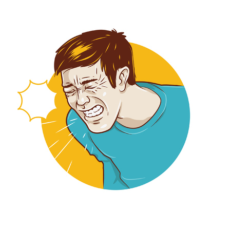 a person who sneezes or infected with flu symptoms.