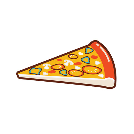 illustration of a piece of pizza. Pizza slices. 写真素材 - 107512950