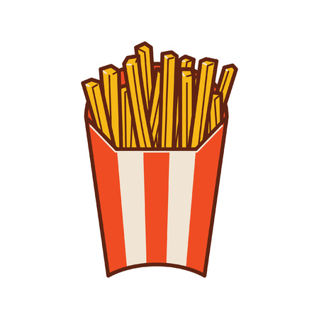 one serving of fried potatoes ready to be eaten. french fries. Illustration