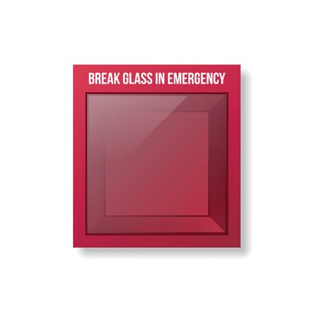 Empty Emergency Box. Glass emergency box. Ilustracja