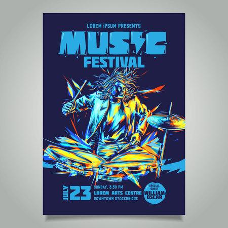 Modèle vectoriel pour une affiche de concert ou un dépliant mettant en vedette un musicien jouant du tambour. Un batteur jouant de la batterie. Vecteurs