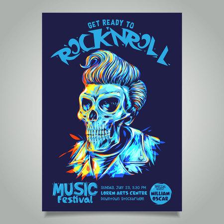 Rock n roll poster sjabloon met pompadour kapsel schedel hoofd illustratie.