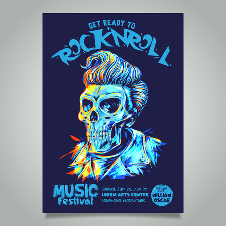 Rock n roll poster template with pompadour hairstyle skull head illustration. Stock Illustratie