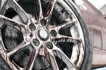 Very dirty alloy wheel rim