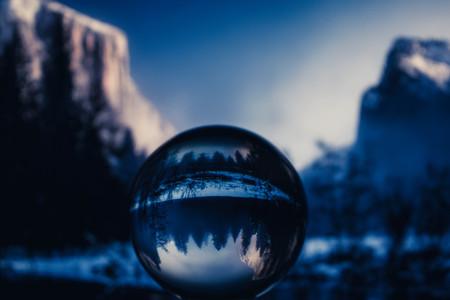 a trasparent crystal ball vith wonderfull view