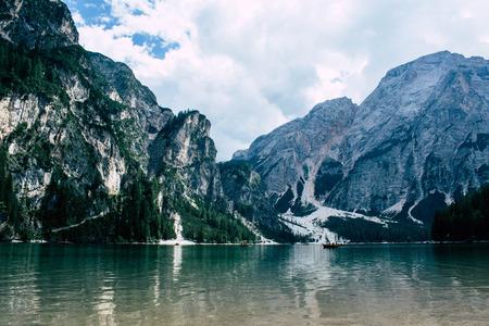 panoramic view on lake braies, italy Stock Photo