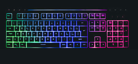 mechanical keyboard with leds and mouse Banque d'images