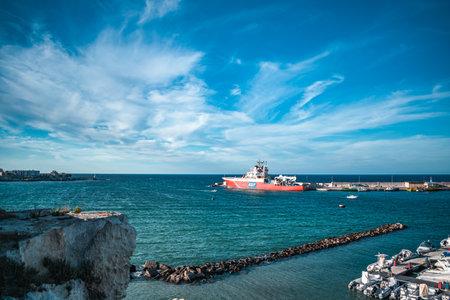 fantastic view on the otranto port and sea Stockfoto