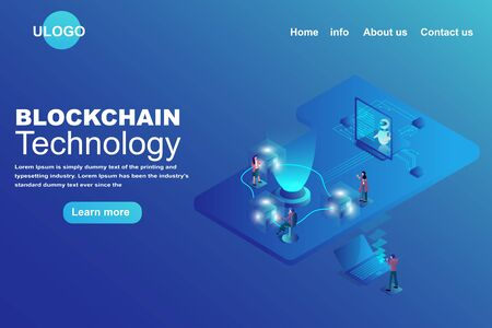 Block chain technology Landing page concept. Isometric 3d of transfer data on block platform . business and financial futuristic background.