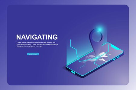 GPS navigation and travel landing page concept. Isometric 3d of smart phone with pin tracking on world map.