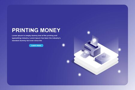 Business and financial landing page. Isometric 3D printer idea to money isolated on futuristic blue background.