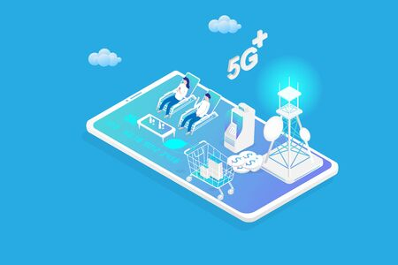 Isometric 5G technology on network smartphone with money dollar coin, cart, shopping bag, Antenna and human use. Vector illustration in 3d design.