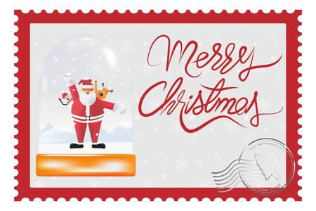 Merry Christmas and happy new year stamp. Vector illustration in flat style.